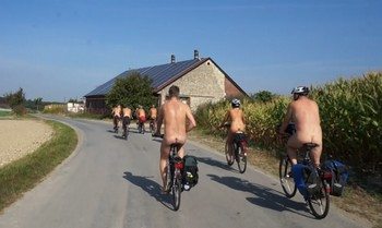 Biking in the buff, Münsterland, Germany
