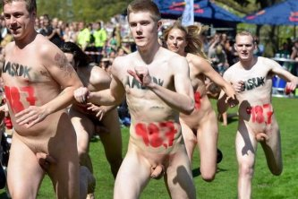 Nude running competition